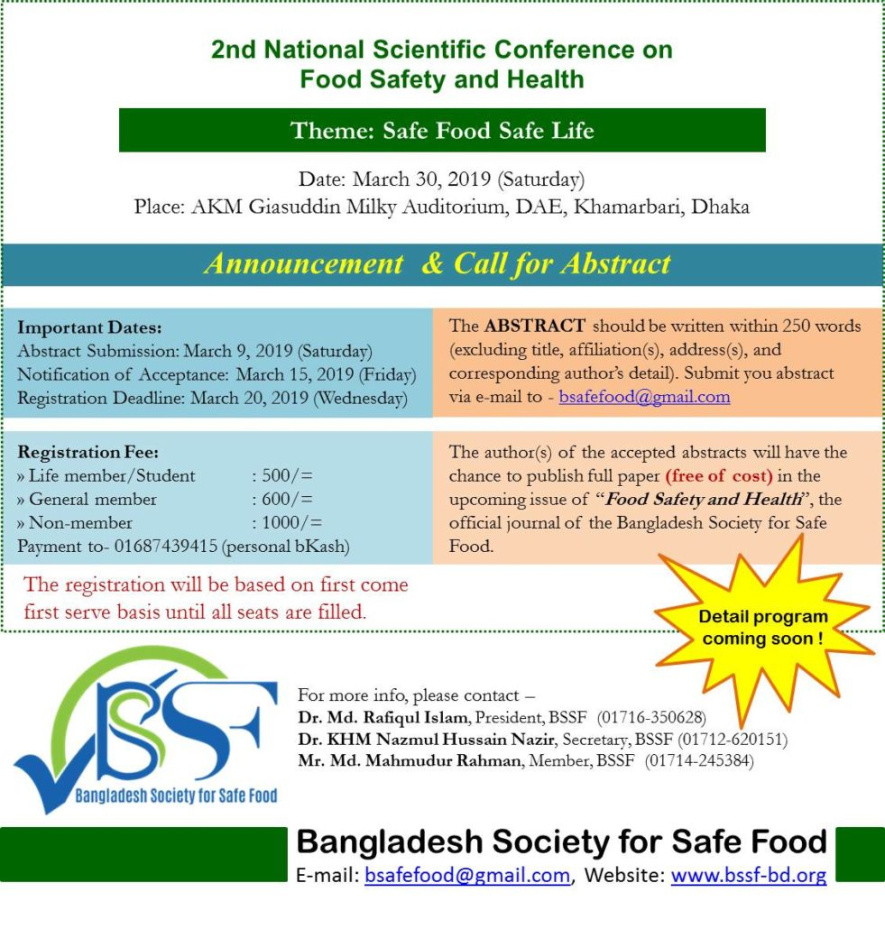 BSSF – Bangladesh Society for Safe Food